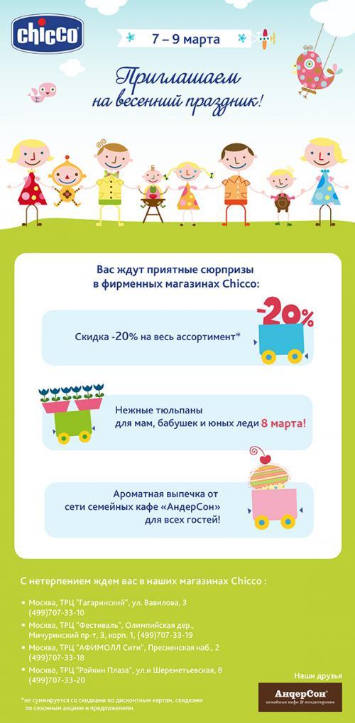b0d991681019 Приглашаем на праздник весны в фирменные магазины Chicco в Москве !